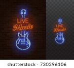 live music neon sign. guitar... | Shutterstock .eps vector #730296106