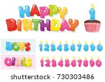 birthday stickers set. colorful ... | Shutterstock .eps vector #730303486