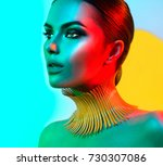 high fashion model woman in... | Shutterstock . vector #730307086