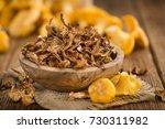 fresh made dried chanterelles... | Shutterstock . vector #730311982
