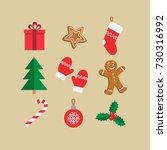 christmas symbols icon set.... | Shutterstock .eps vector #730316992