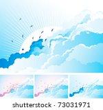 birds in the cloudy sky. vector ... | Shutterstock .eps vector #73031971