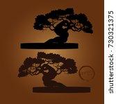 bonsai tree. black silhouette... | Shutterstock .eps vector #730321375