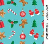 seamless pattern of christmas... | Shutterstock .eps vector #730332025