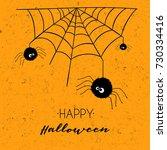 happy halloween greeting card... | Shutterstock .eps vector #730334416