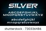 alphabet font. metallic  silver ... | Shutterstock .eps vector #730336486