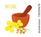 mustard  seeds with mortar ... | Shutterstock .eps vector #730339678