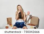 portrait of attractive girl... | Shutterstock . vector #730342666