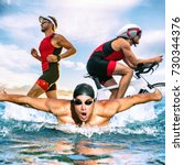 triathlon swim bike run... | Shutterstock . vector #730344376