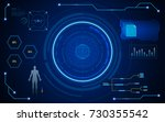 digital hud ui screen virtual... | Shutterstock .eps vector #730355542
