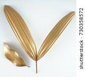 golden leaves on white... | Shutterstock . vector #730358572