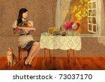 Retro Postcard With Beauty...