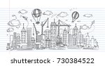 hand drawn city sketch for your ... | Shutterstock .eps vector #730384522