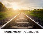 railway tracks with sunset...   Shutterstock . vector #730387846