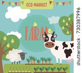 farm agriculture landscape card ... | Shutterstock .eps vector #730387996