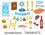 shabbat shalom icon set  flat  ... | Shutterstock .eps vector #730390372