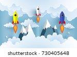 rocket illustration flying over ... | Shutterstock .eps vector #730405648