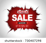 shock sale banner on crack red... | Shutterstock .eps vector #730407298