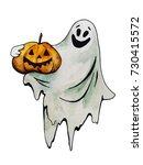 halloween ghost with pumpkin ... | Shutterstock . vector #730415572