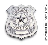 Small photo of Silver Police Badge Isolated on a White Background.