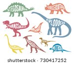 set of colorful dinosaurs with... | Shutterstock .eps vector #730417252