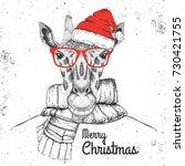 christmas hipster fashion... | Shutterstock .eps vector #730421755