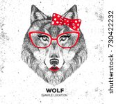 retro hipster animal wolf. hand ... | Shutterstock .eps vector #730422232
