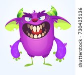 angry cartoon monster.... | Shutterstock .eps vector #730425136