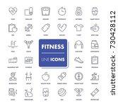 line icons set. fitness pack.... | Shutterstock .eps vector #730428112
