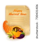 happy harvest time background.... | Shutterstock .eps vector #730431406