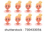 set of woman's emotions. facial ... | Shutterstock .eps vector #730433056