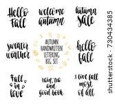 autumn quotes lettering set.... | Shutterstock .eps vector #730434385
