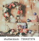christmas decoration on wood... | Shutterstock . vector #730437376