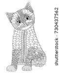 hand drawn kitten. vector... | Shutterstock .eps vector #730437562