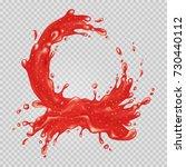strawberry jam. red liquid... | Shutterstock .eps vector #730440112