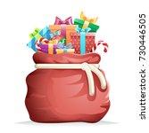 bag full gifts christmas new... | Shutterstock .eps vector #730446505