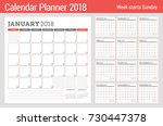 calendar planner for 2018 year. ... | Shutterstock .eps vector #730447378