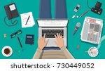 freelance writer or journalist... | Shutterstock . vector #730449052