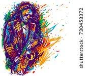 jazz saxophone player jazz... | Shutterstock .eps vector #730453372
