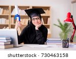 muslim girl in hijab studying...   Shutterstock . vector #730463158