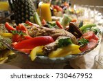 a close up photo of a plate... | Shutterstock . vector #730467952