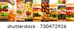 collage of various fast food... | Shutterstock . vector #730472926