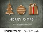 christmas cookies ornaments... | Shutterstock . vector #730474066