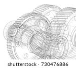 gearbox sketch. vector... | Shutterstock .eps vector #730476886