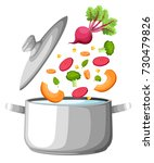 boiling water in pan. iron... | Shutterstock .eps vector #730479826