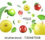 vector flying colorful apples.... | Shutterstock .eps vector #730487038