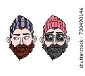 hipsters. two young men.... | Shutterstock .eps vector #730490146