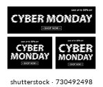 cyber monday black banners.... | Shutterstock .eps vector #730492498