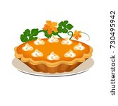 pumpkin pie. vector... | Shutterstock .eps vector #730495942