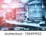 double exposure of business... | Shutterstock . vector #730499932
